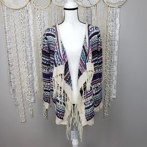 Ya Los Angles Open Front Fringe Draped Cardigan